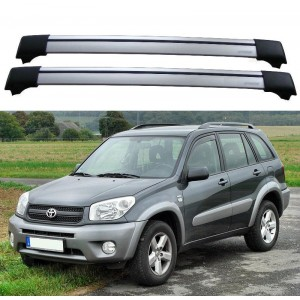 Toyota RAV4 I & II 3dr/5dr 4x4 2000+ Roof Rack Aero Cross Bars Set Spoilers